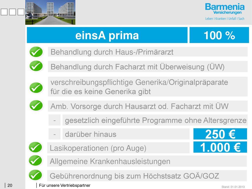 250 € 1.000 € einsA prima 100 % Behandlung durch Haus-/Primärarzt