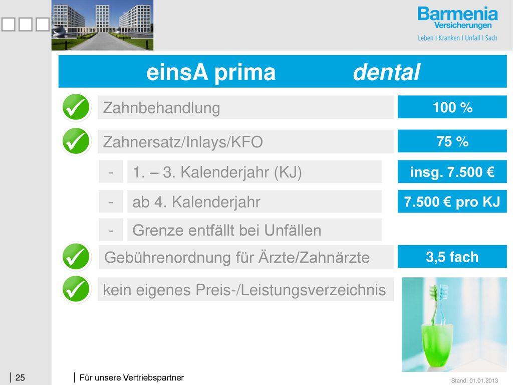 einsA prima dental Zahnbehandlung Zahnersatz/Inlays/KFO -