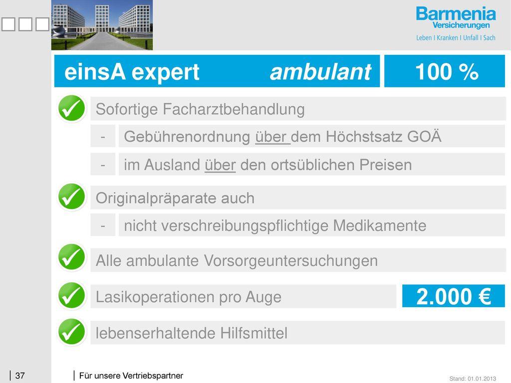 einsA expert ambulant 100 % 100 % 2.000 €