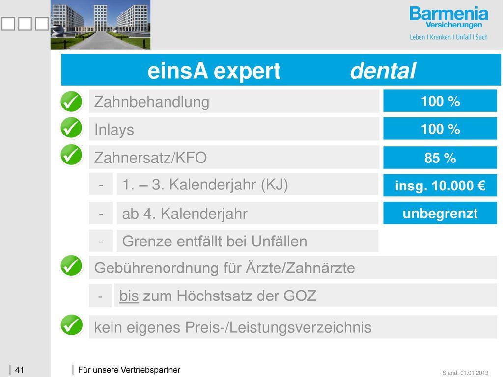 einsA expert dental Zahnbehandlung Inlays Zahnersatz/KFO -