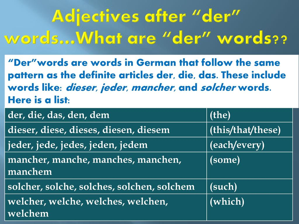 Adjectives after der words…What are der words