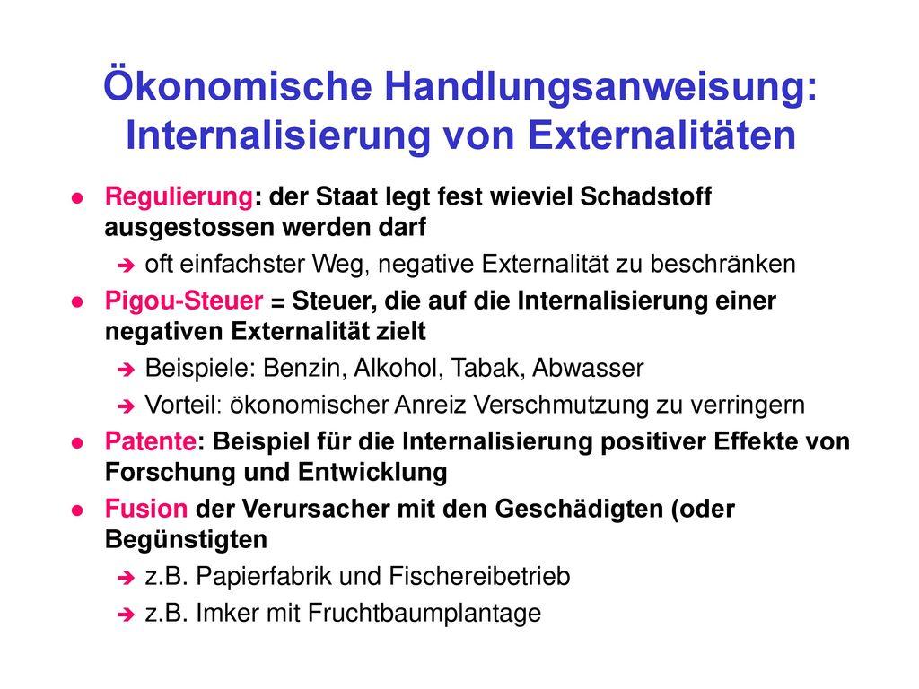 Ökonomische Handlungsanweisung: Internalisierung von Externalitäten