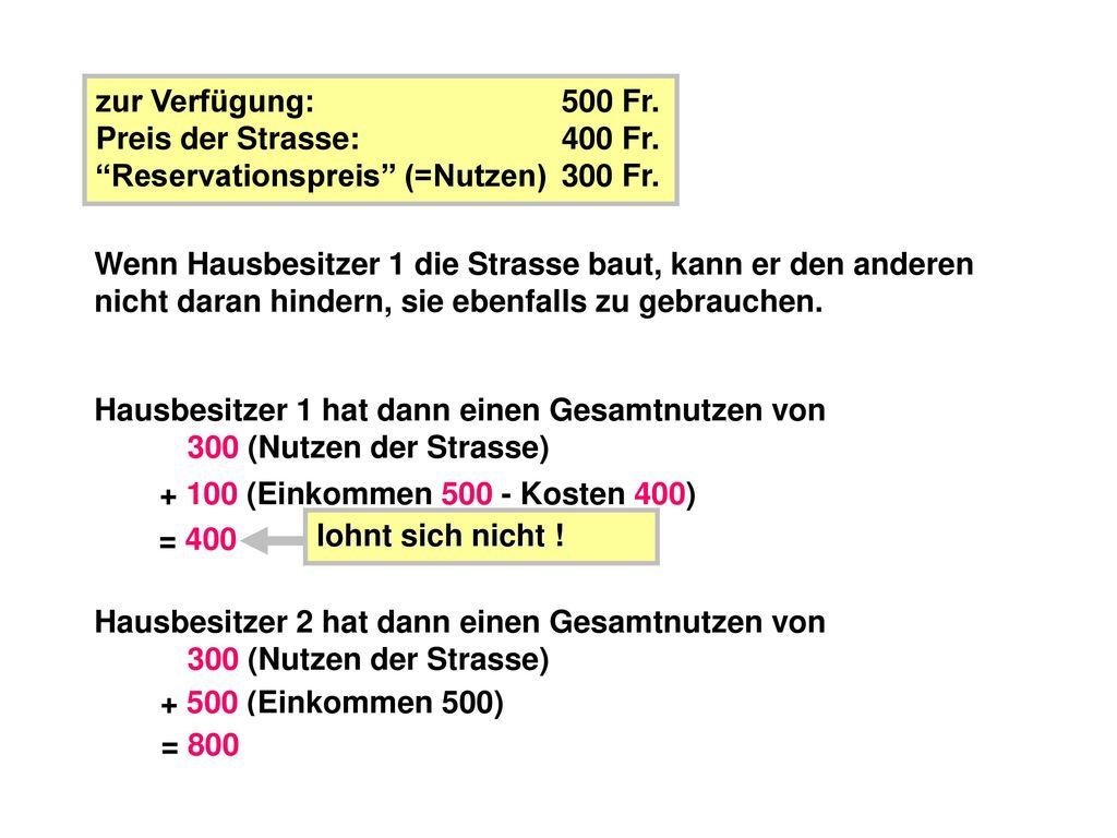 zur Verfügung: 500 Fr. Preis der Strasse: 400 Fr. Reservationspreis (=Nutzen) 300 Fr.