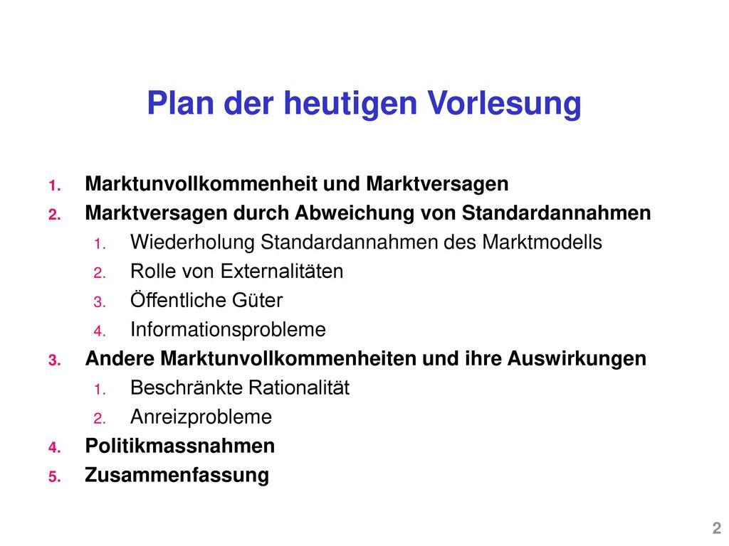 Plan der heutigen Vorlesung