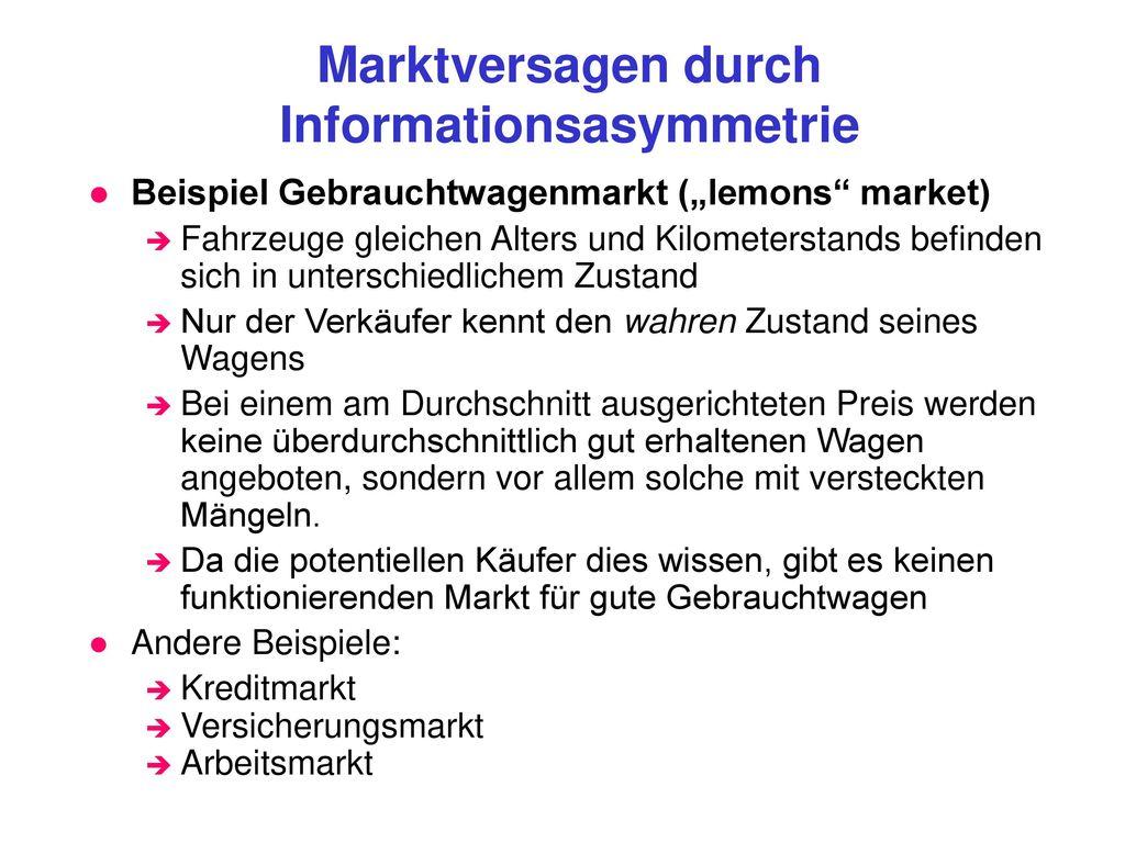 Marktversagen durch Informationsasymmetrie
