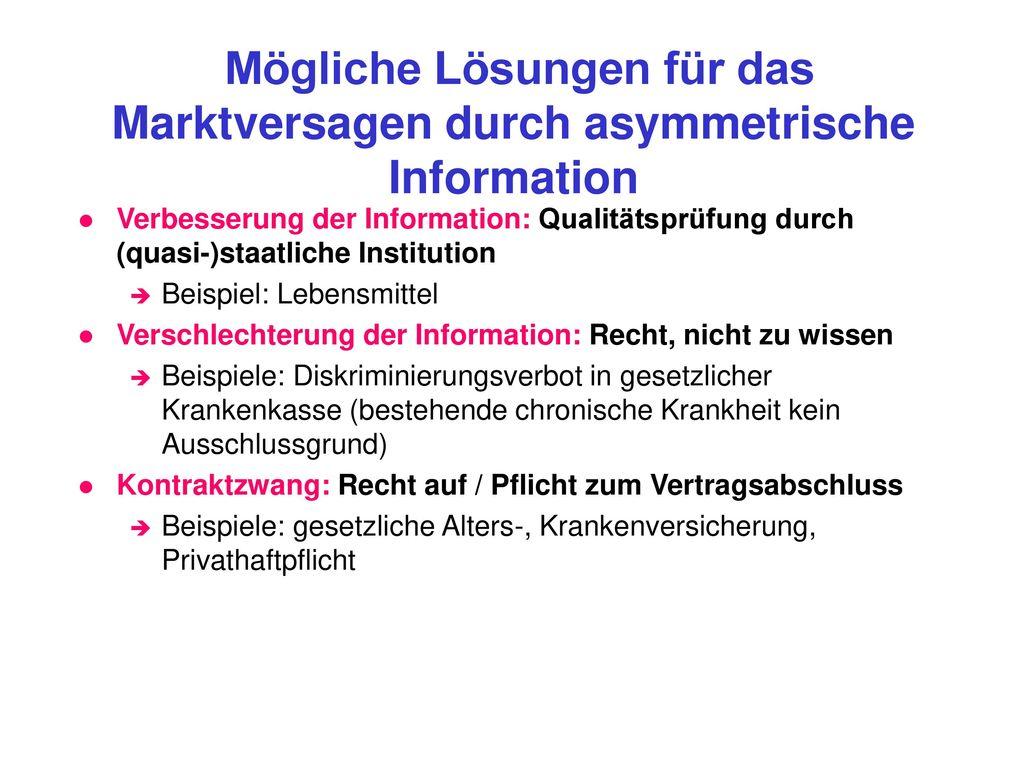 Mögliche Lösungen für das Marktversagen durch asymmetrische Information
