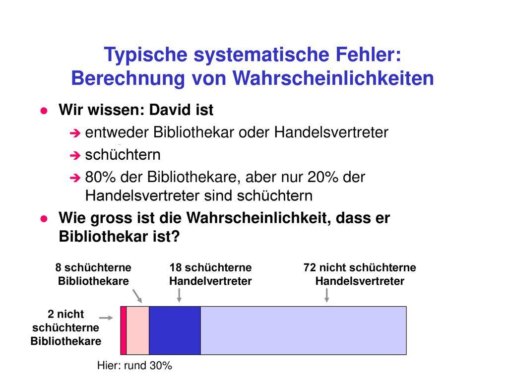 Typische systematische Fehler: Berechnung von Wahrscheinlichkeiten