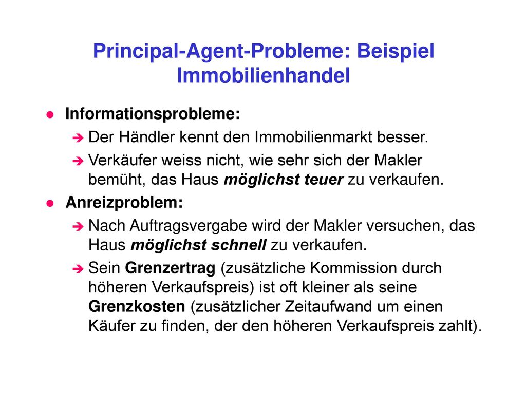 Principal-Agent-Probleme: Beispiel Immobilienhandel