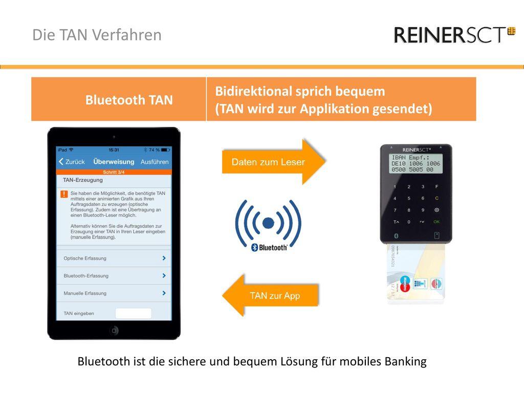 Die TAN Verfahren Bidirektional sprich bequem Bluetooth TAN