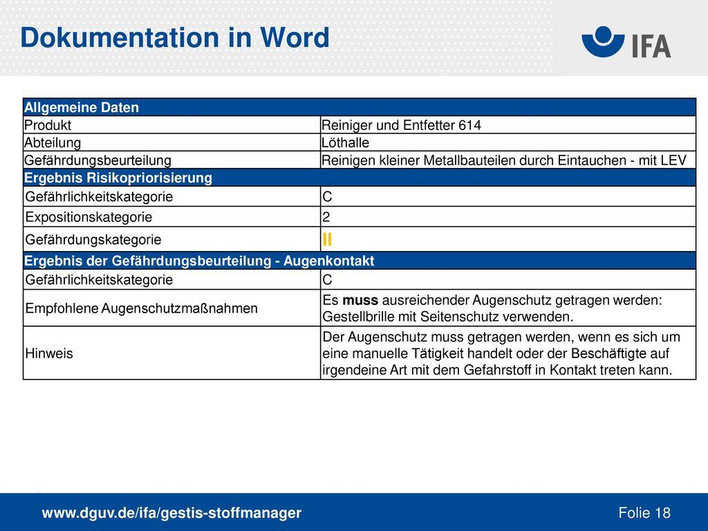 Dokumentation in Word II www.dguv.de/ifa/gestis-stoffmanager