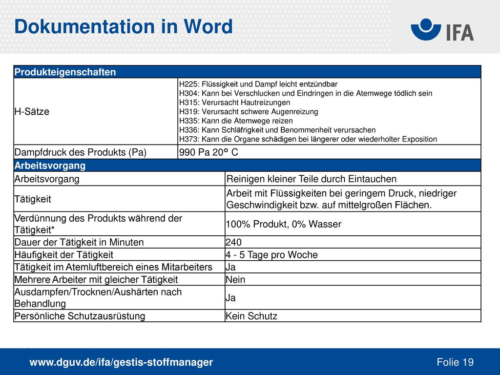 Dokumentation in Word www.dguv.de/ifa/gestis-stoffmanager