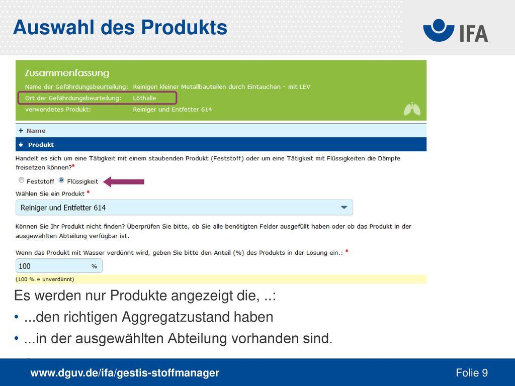 Auswahl des Produkts Es werden nur Produkte angezeigt die, ..: