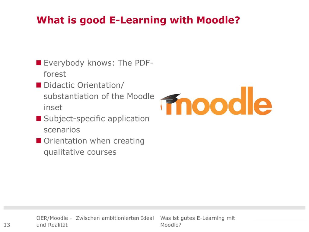 What is good E-Learning with Moodle