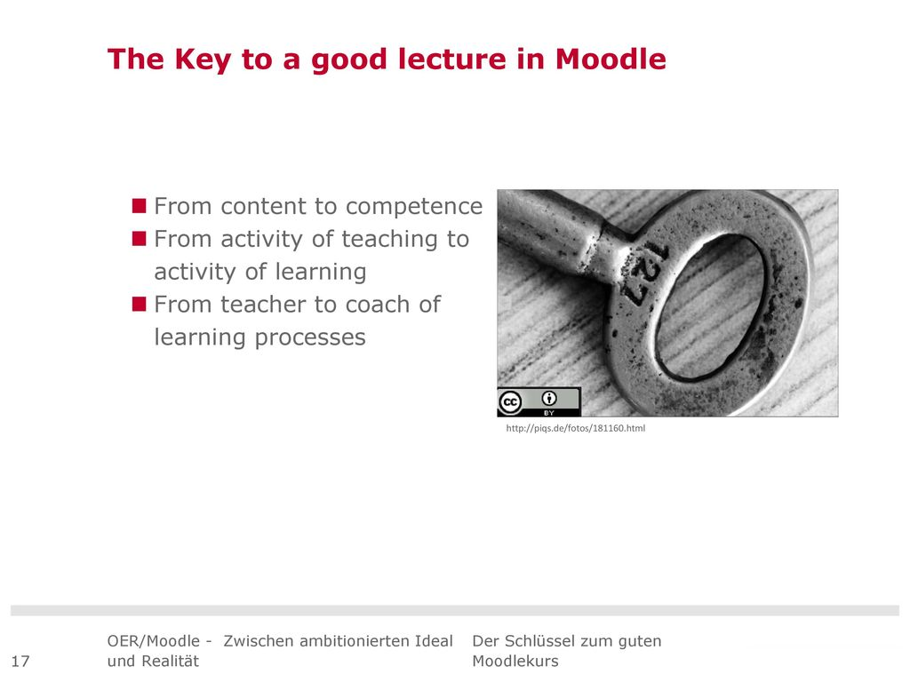 The Key to a good lecture in Moodle