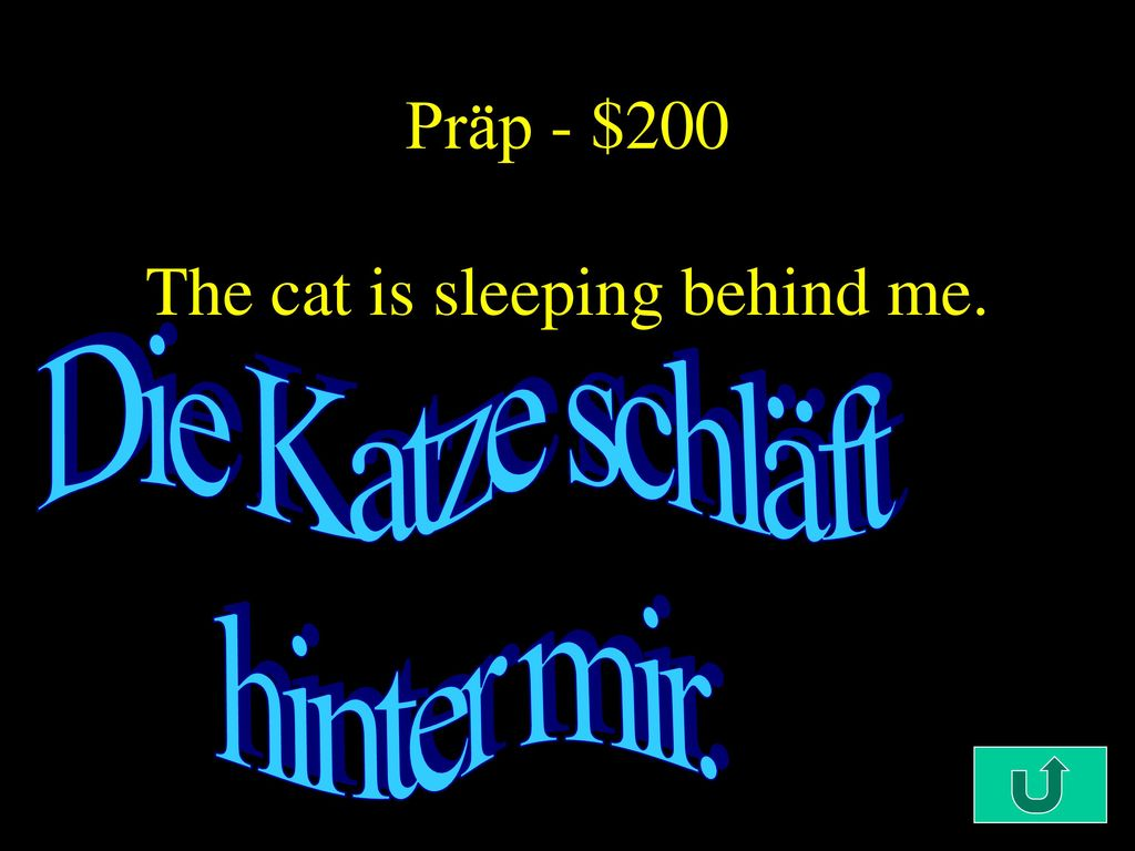 Präp - $200 The cat is sleeping behind me.