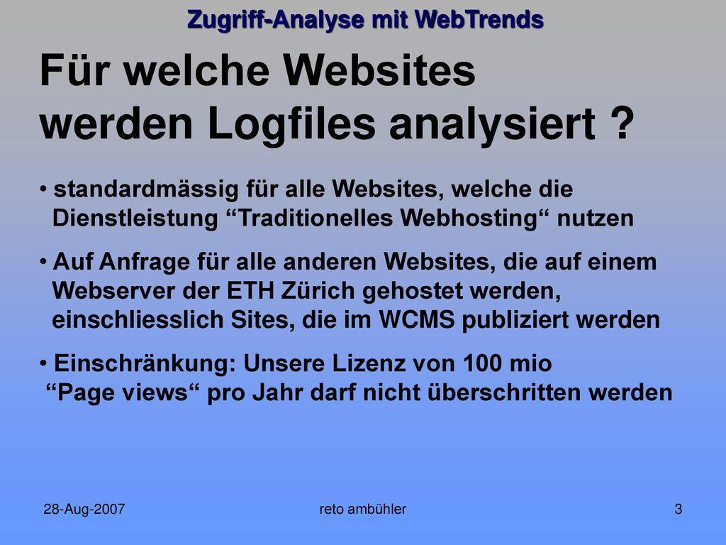 Für welche Websites werden Logfiles analysiert