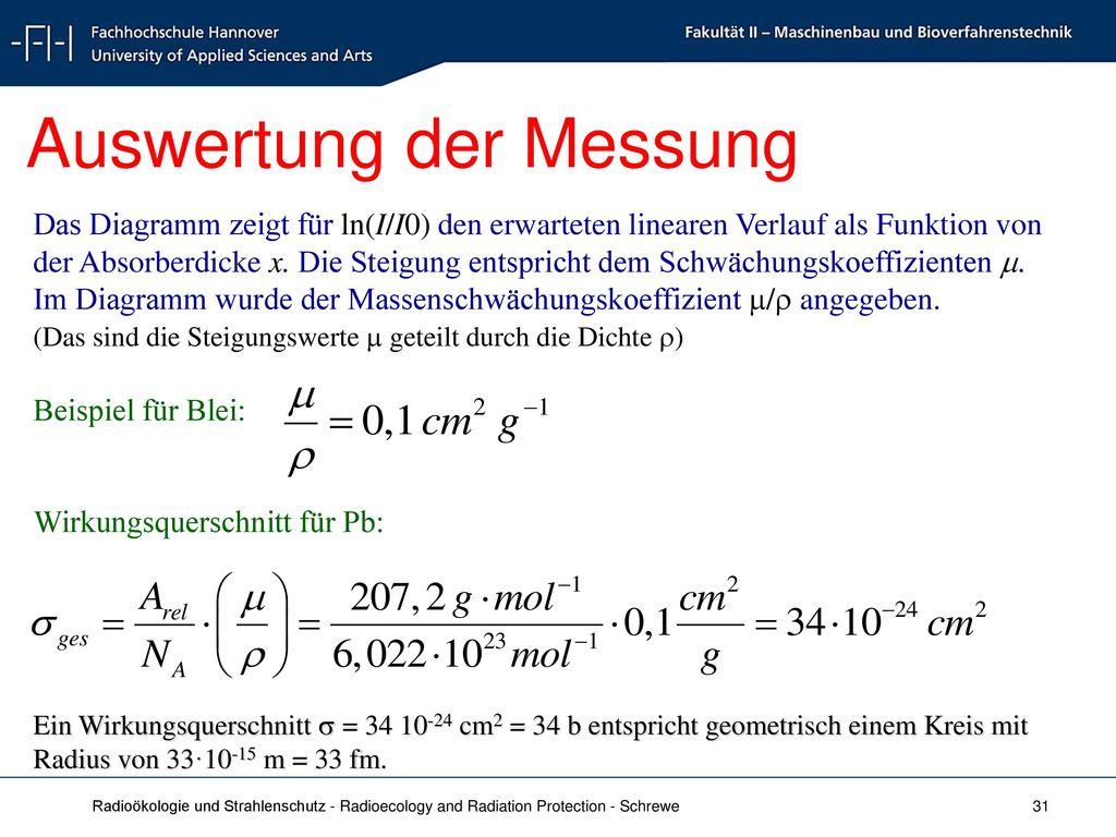 Auswertung der Messung