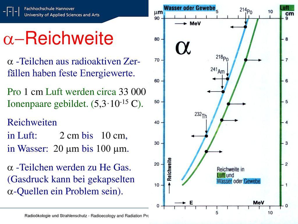 a-Reichweite a -Teilchen aus radioaktiven Zer-fällen haben feste Energiewerte. Pro 1 cm Luft werden circa 33 000 Ionenpaare gebildet. (5,3·10-15 C).