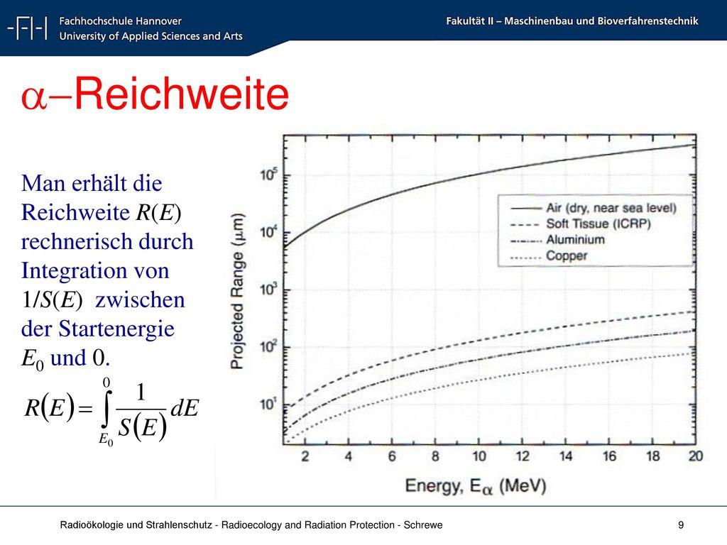a-Reichweite Man erhält die Reichweite R(E) rechnerisch durch Integration von 1/S(E) zwischen der Startenergie E0 und 0.