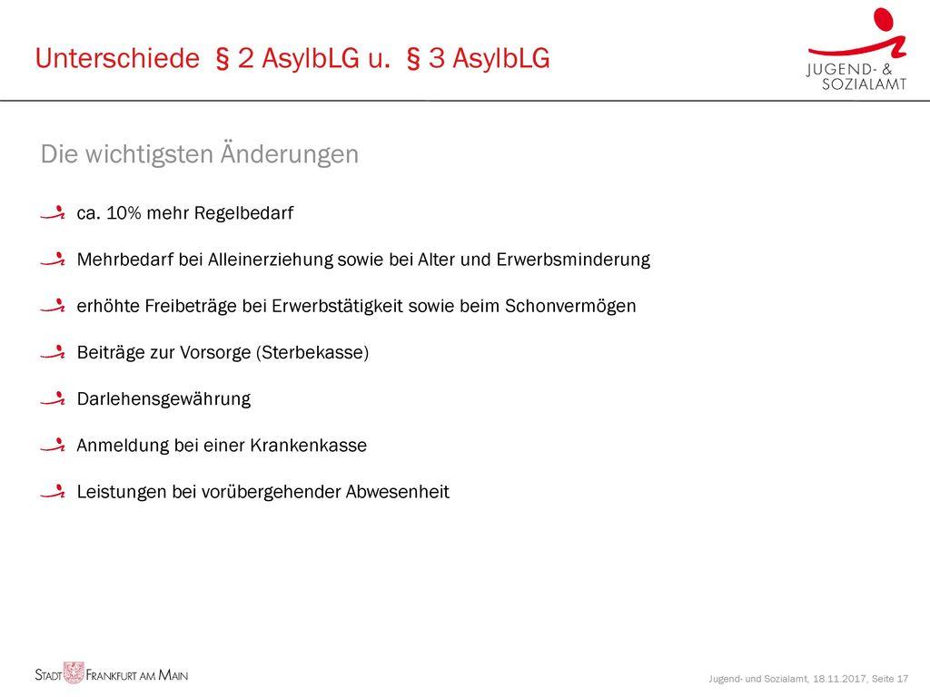 Unterschiede §2 AsylbLG u. §3 AsylbLG