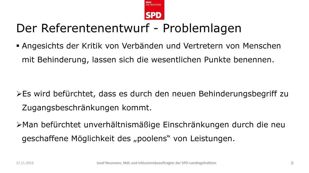 Der Referentenentwurf - Problemlagen