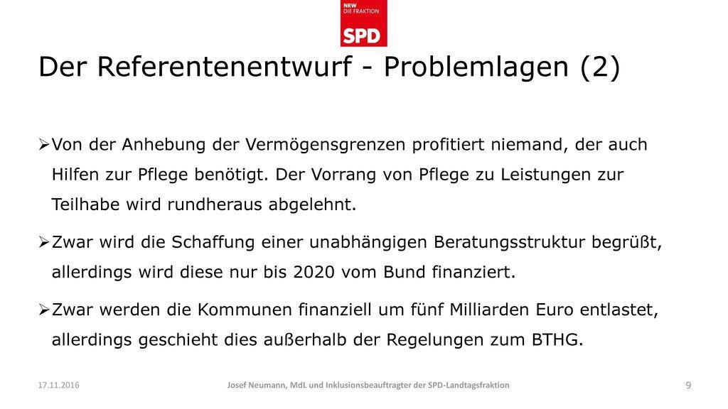 Der Referentenentwurf - Problemlagen (2)