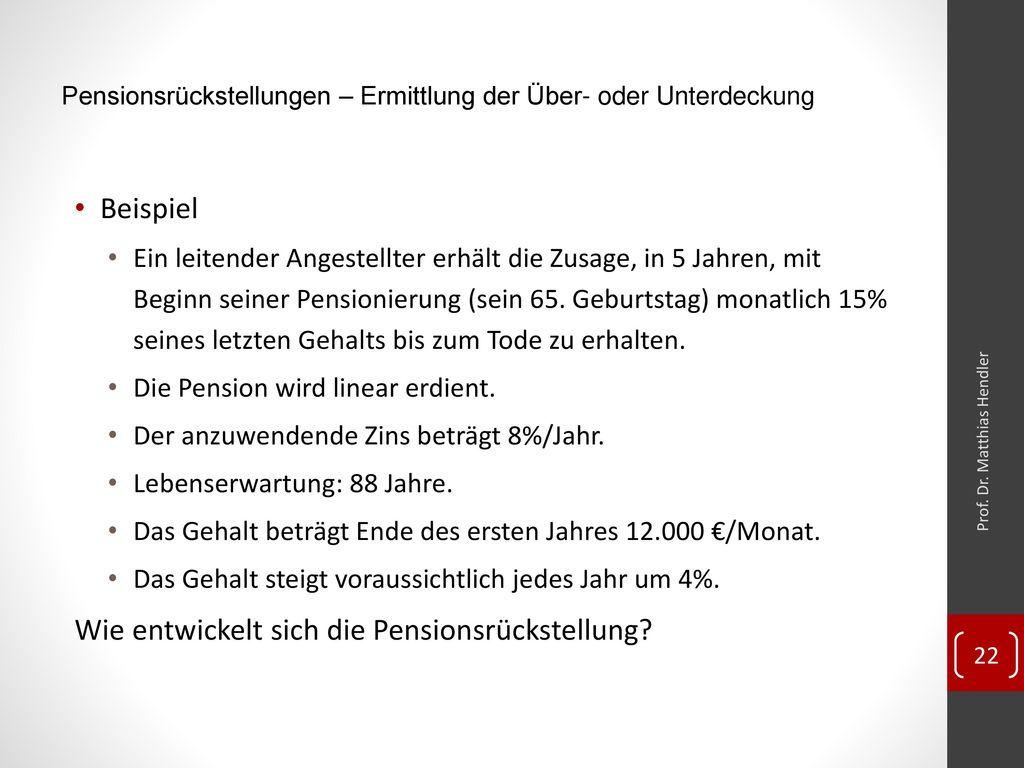 Pensionsrückstellungen – Ermittlung der Über- oder Unterdeckung