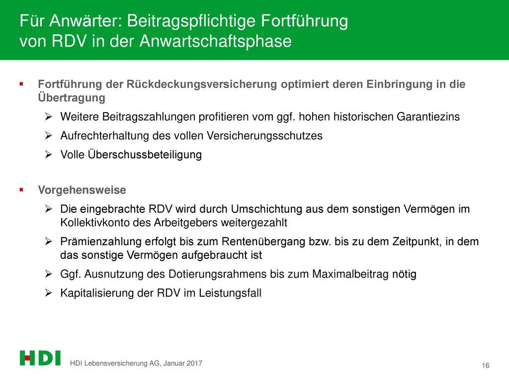 Für Anwärter: Beitragspflichtige Fortführung von RDV in der Anwartschaftsphase