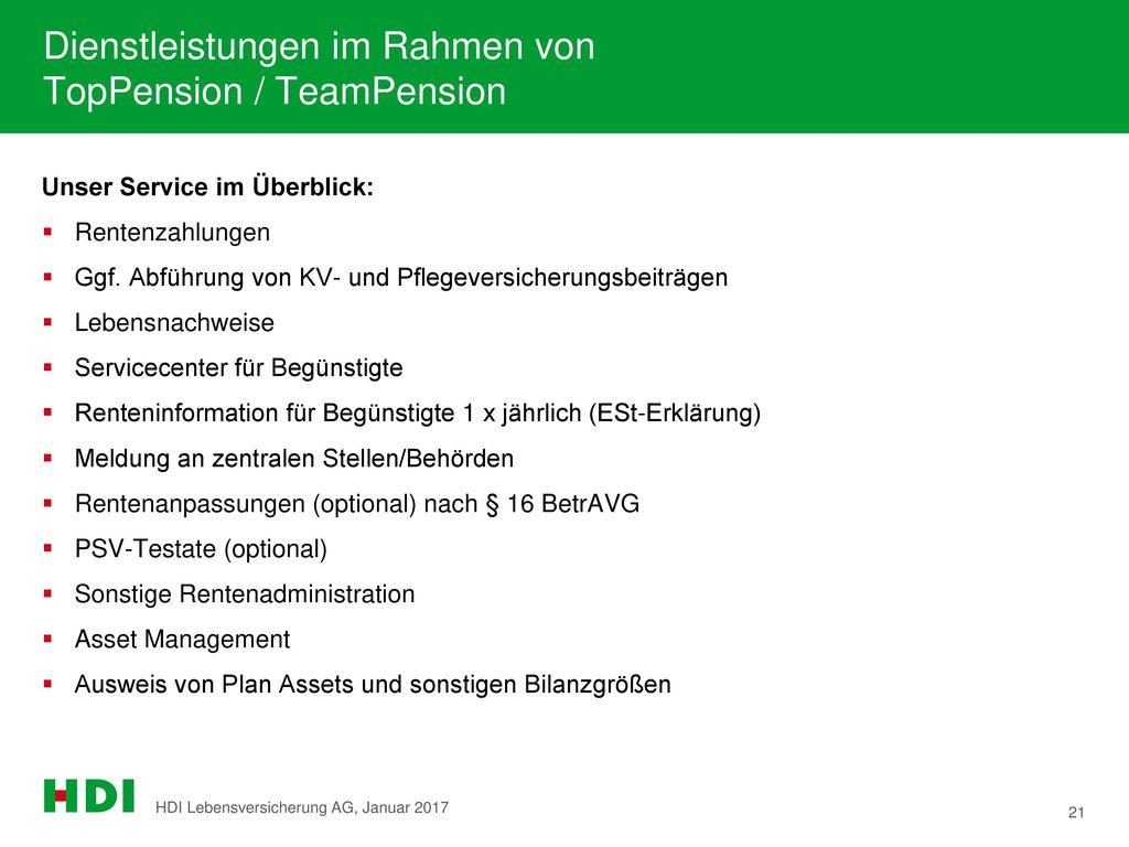 Dienstleistungen im Rahmen von TopPension / TeamPension