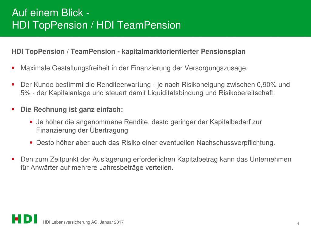 Auf einem Blick - HDI TopPension / HDI TeamPension