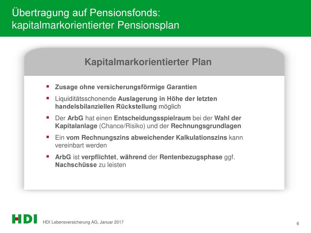 Übertragung auf Pensionsfonds: kapitalmarkorientierter Pensionsplan