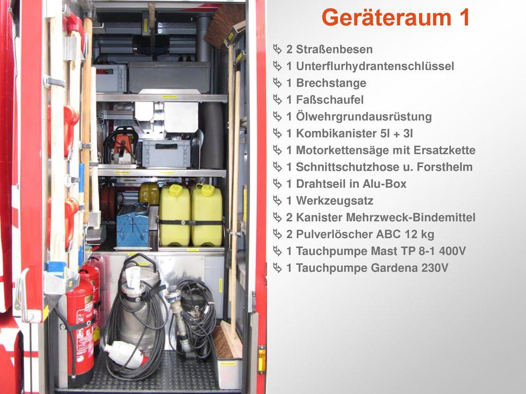Geräteraum 1  2 Straßenbesen  1 Unterflurhydrantenschlüssel