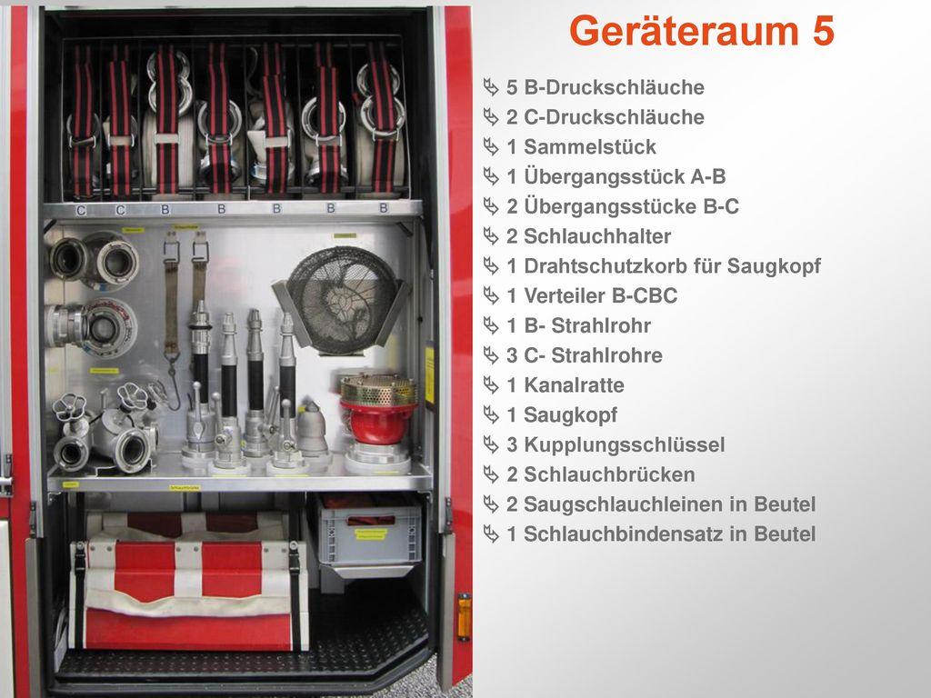 Geräteraum 5  5 B-Druckschläuche  2 C-Druckschläuche  1 Sammelstück