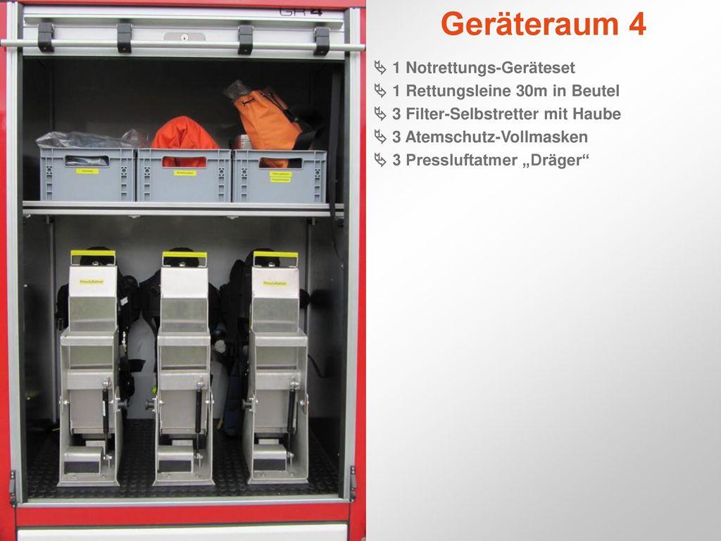Geräteraum 4  1 Notrettungs-Geräteset  1 Rettungsleine 30m in Beutel
