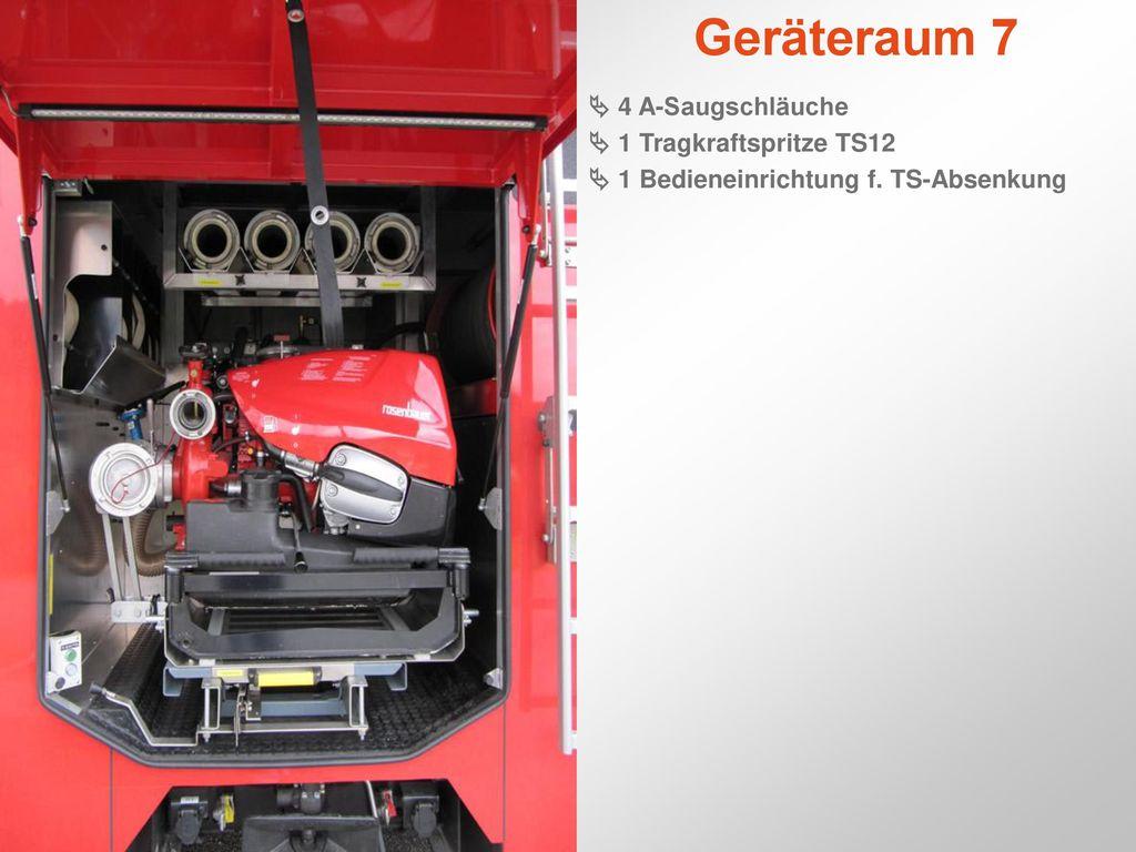 Geräteraum 7  4 A-Saugschläuche  1 Tragkraftspritze TS12