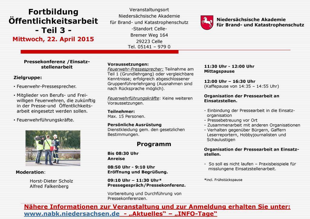 Fortbildung Öffentlichkeitsarbeit - Teil 3 - Mittwoch, 22. April 2015