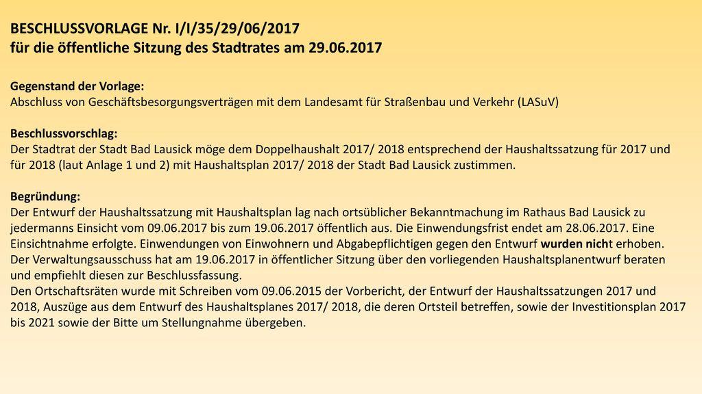 BESCHLUSSVORLAGE Nr. I/I/35/29/06/2017