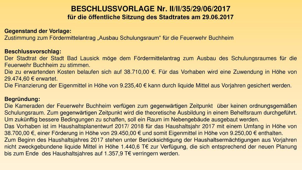 BESCHLUSSVORLAGE Nr. II/II/35/29/06/2017