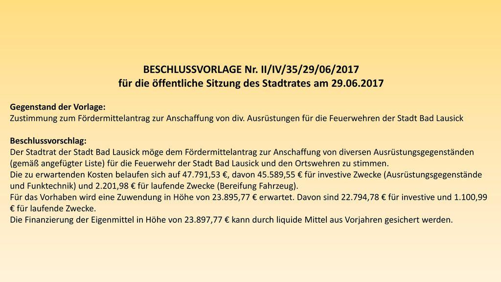 BESCHLUSSVORLAGE Nr. II/IV/35/29/06/2017
