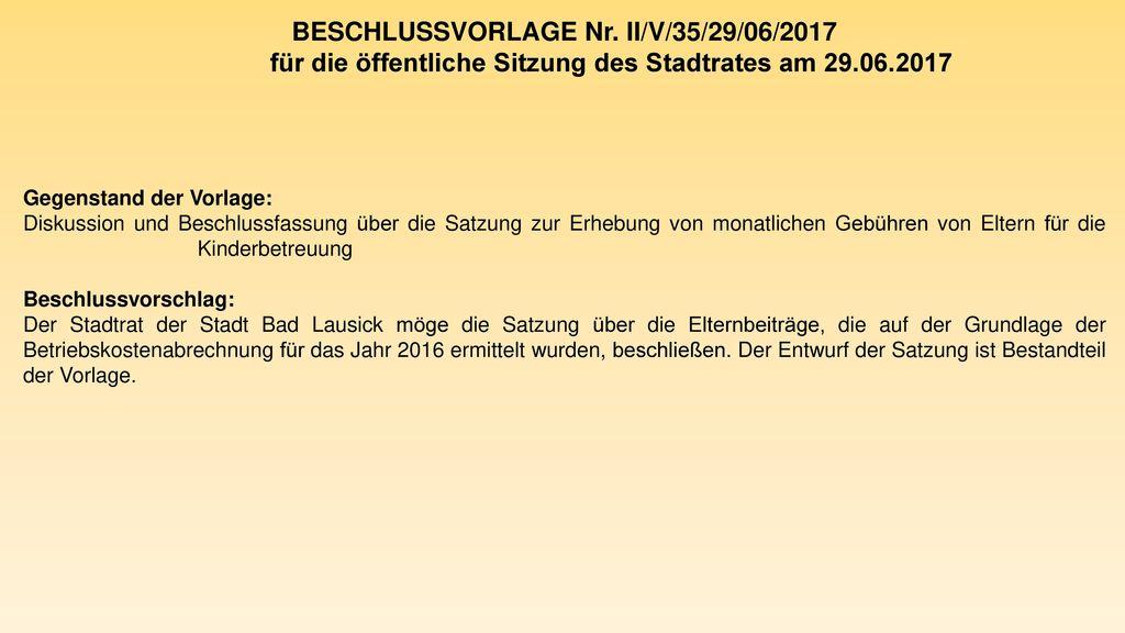 BESCHLUSSVORLAGE Nr. II/V/35/29/06/2017