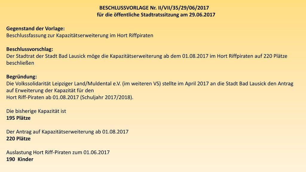 BESCHLUSSVORLAGE Nr. II/VII/35/29/06/2017