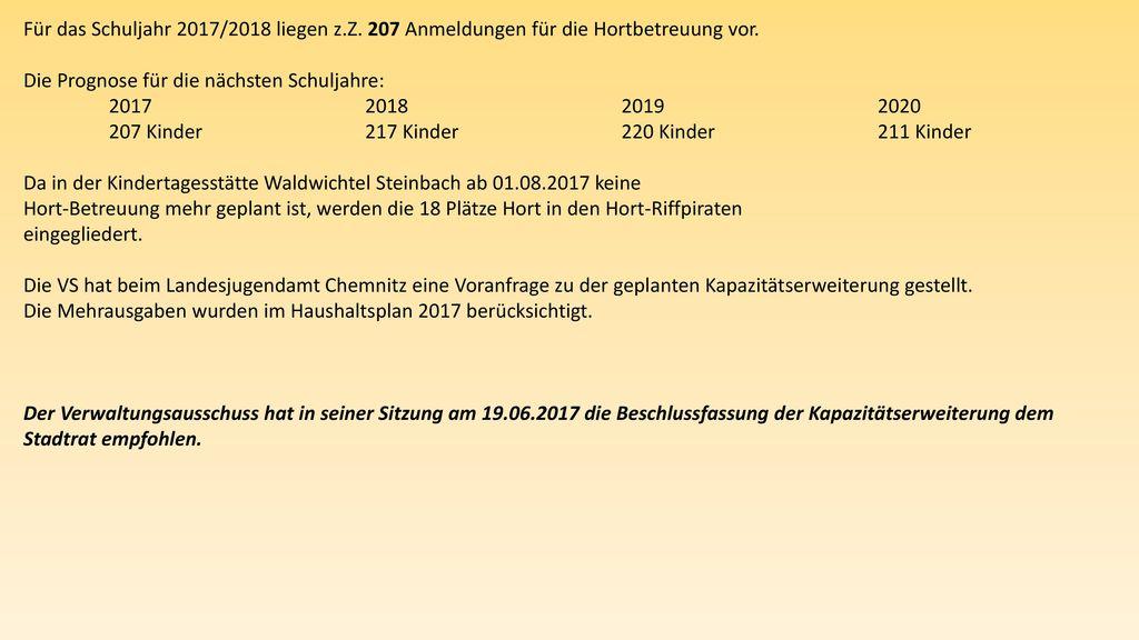 Für das Schuljahr 2017/2018 liegen z. Z