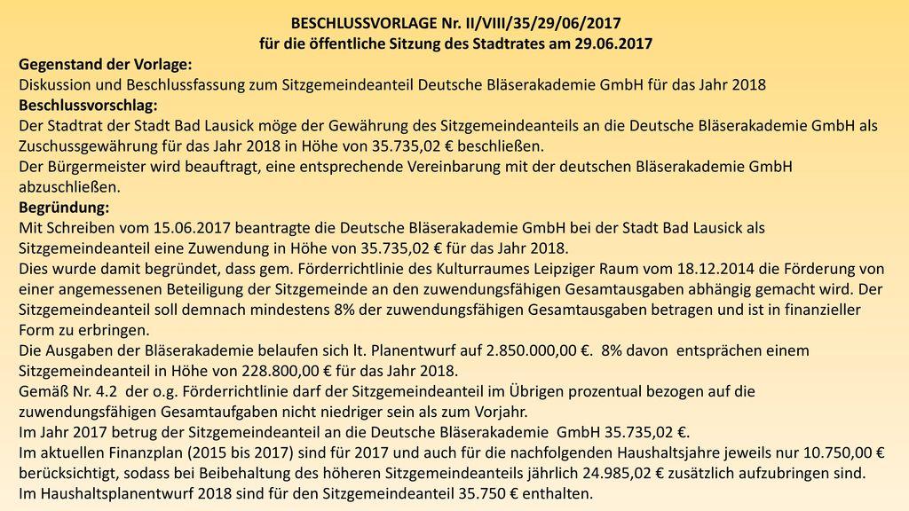 BESCHLUSSVORLAGE Nr. II/VIII/35/29/06/2017
