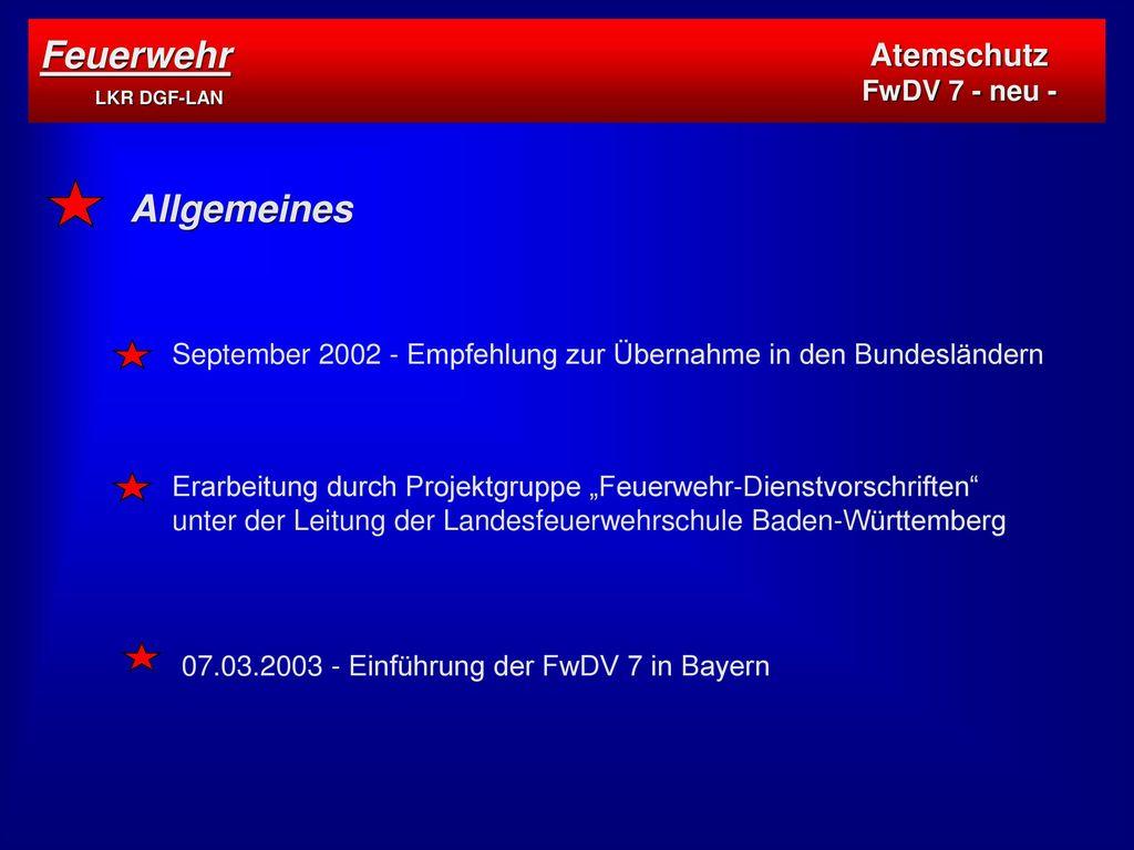 Feuerwehr LKR DGF-LAN Allgemeines Atemschutz FwDV 7 - neu -