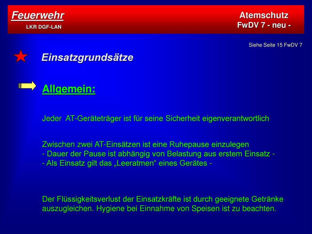 Feuerwehr LKR DGF-LAN Einsatzgrundsätze Allgemein: