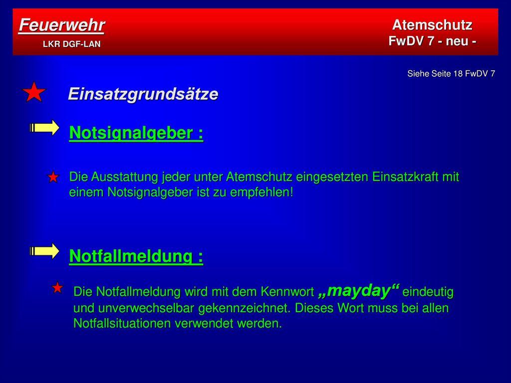Feuerwehr LKR DGF-LAN Einsatzgrundsätze Notsignalgeber :