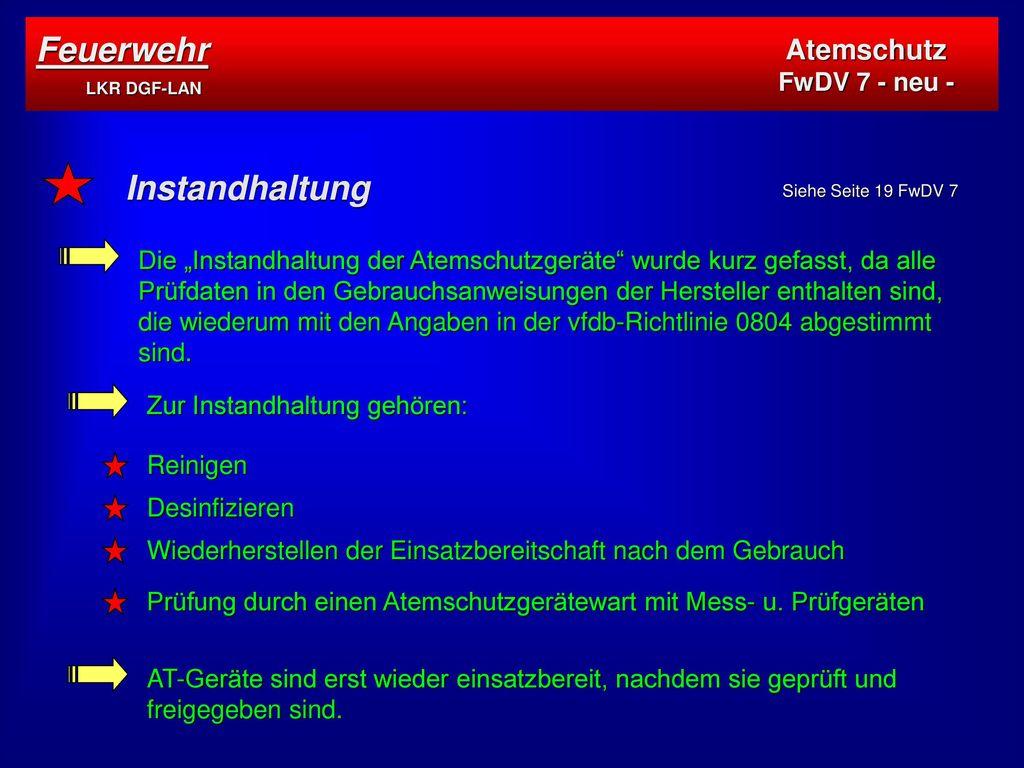 Feuerwehr LKR DGF-LAN Instandhaltung Atemschutz FwDV 7 - neu -
