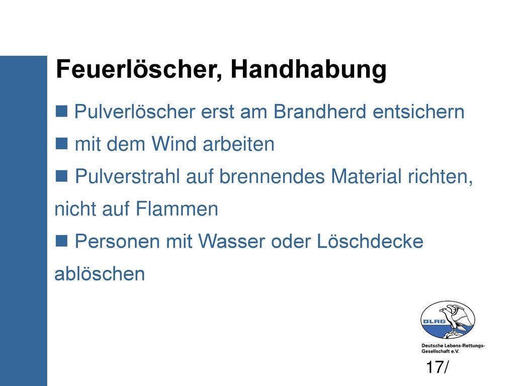 Feuerlöscher, Handhabung