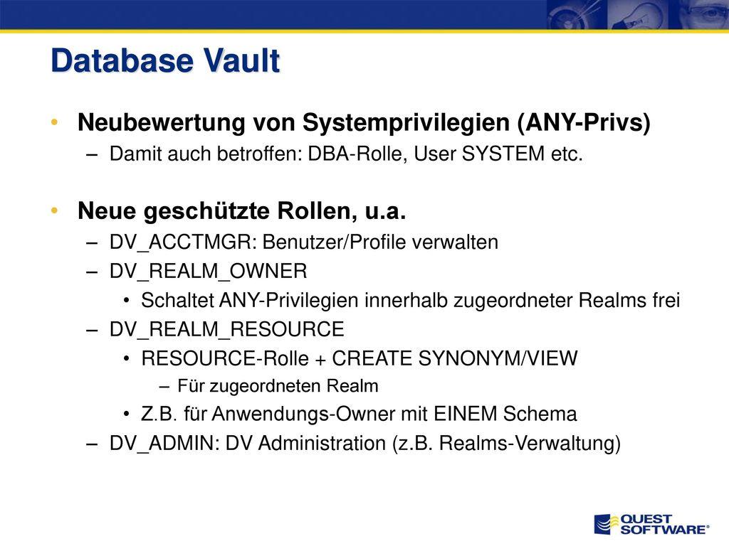 Database Vault Neubewertung von Systemprivilegien (ANY-Privs)