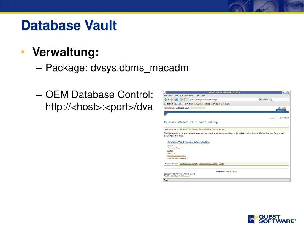 Database Vault installieren